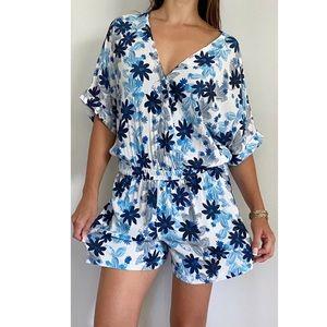 PIPER White Blue Floral Print Playsuit Size AU 14